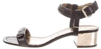 Lanvin Snakeskin-Trim Ankle-Strap Sandals