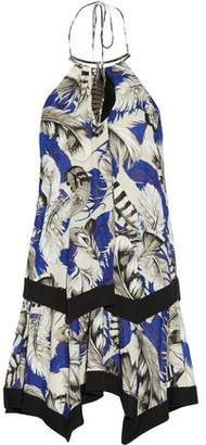 Roberto Cavalli Faux Feather-Embellished Printed Stretch-Jersey Halterneck Mini Dress