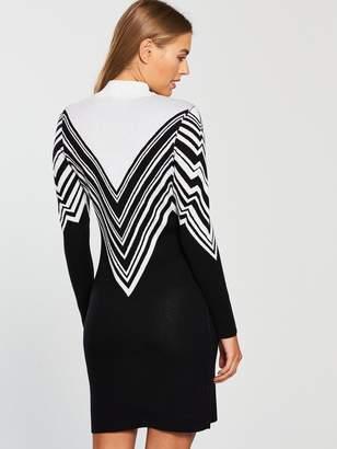 Very Zig Zag Stripe Knitted Bodycon Dress - Monochrome