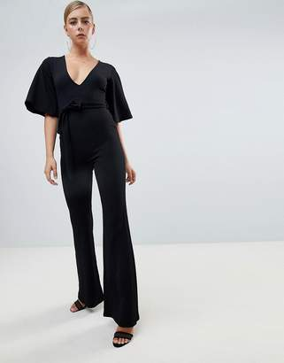Missguided Kimono Sleeve Plunge Jumpsuit In Black