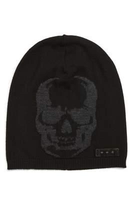 John Varvatos Skull Slouch Knit Hat