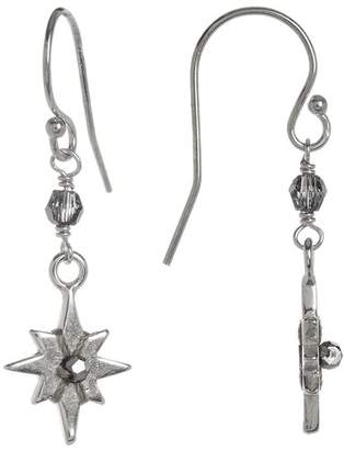 Chan Luu Sterling Silver Crystal Accented Starburst Dangle Earrings