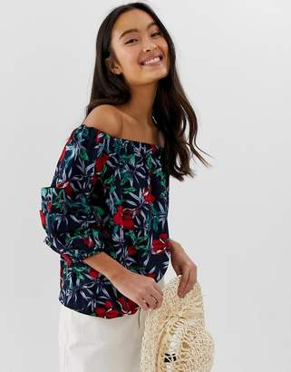 444e1477be7df9 Bardot Qed London QED London top with tiered sleeves in navy floral