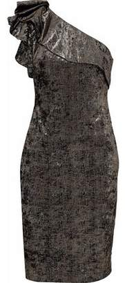 Badgley Mischka One-Shoulder Metallic Crushed Velvet Dress