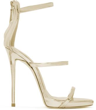 Giuseppe Zanotti Gold Colline Heeled Sandals $845 thestylecure.com