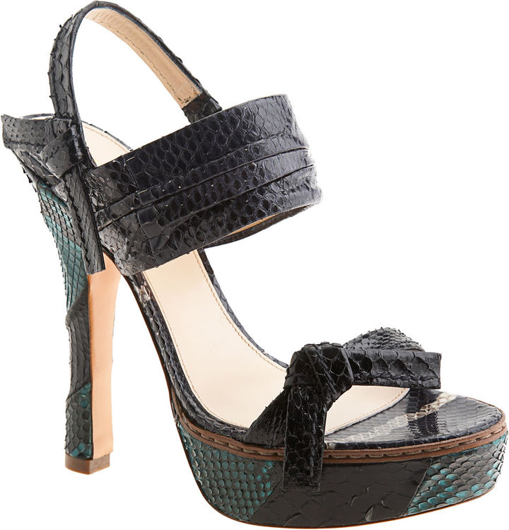 PRADA Python Patchwork Sandal - Black/Turquoise