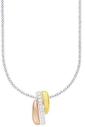 Amor 526500 Women's Chain with Pendant 925 Silver Partially Gold-Plated White Zirconia Tri-Colour 45 cm