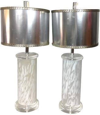 One Kings Lane Vintage 1960s Modern Lucite & Glass Lamps - Set of 2