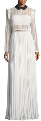 Self-Portrait Long-Sleeve Paneled Lace Maxi Dress