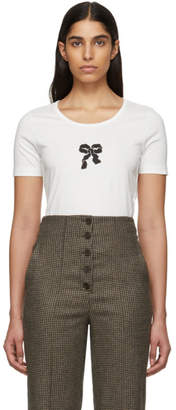 ALEXACHUNG Off-White Silky Bow Print T-Shirt