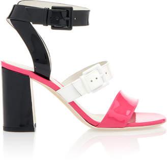 Bottega Veneta Double Buckle Color-Blocked Patent Leather Sandals