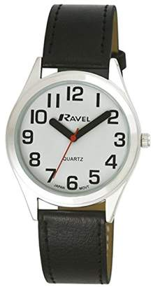 Ravel Unisex R0125.01.1 Easy Read Classically Styled Watch with Bold Hands and Bold Numbers on PU Strap Quartz Watch with White Dial Analogue Display