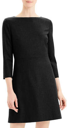 Theory Kamillina 3/4-Sleeve Short Sleek Flannel Dress