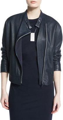 Brunello Cucinelli Asymmetric Leather Moto Jacket w/Monili Trim $5,545 thestylecure.com