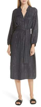 Apiece Apart Roos Metallic Check Shirtdress