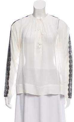 By Malene Birger Lace-Trimmed Silk Top