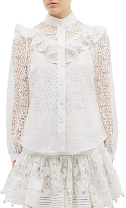 Zimmermann 'Corsage' ruffle yoke high neck guipure lace blouse