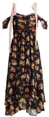 Preen Line Dehebra Ruched Floral Print Georgette Dress - Womens - Black Print
