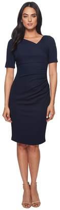 Adrianna Papell Pique Knit Jacquard Draped Sheath Women's Dress