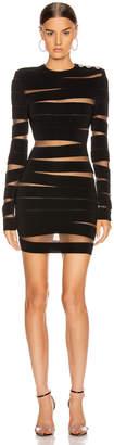 Balmain Long Sleeve Open Knit Mini Dress in Black   FWRD