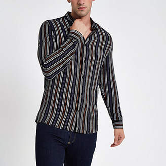 River Island Black aztec stripe print long sleeve shirt