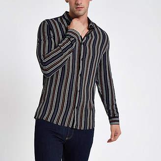 River Island Black aztec stripe print long sleeve shirt