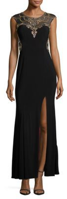 Betsy & Adam Cap-Sleeve Embellished Column Gown $279 thestylecure.com