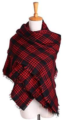 Generic Women's Tassel Plaid Oversized LChecked Scarf Warm Tartan Wrap Shawl