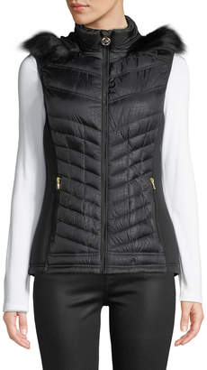 MICHAEL Michael Kors Down Fill Puffer Vest with Faux-Fur Trim