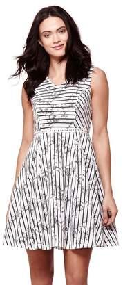 Yumi Ivory Stripe Lace Shift Dress