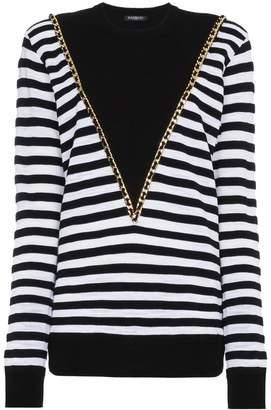 Balmain Striped jumper with chain