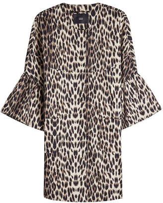 Steffen Schraut Leopard Print Coat with Cropped Sleeves
