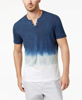 INC International Concepts I.n.c. Men's Split-Neck Dip Dyed T-Shirt, Created for Macy's