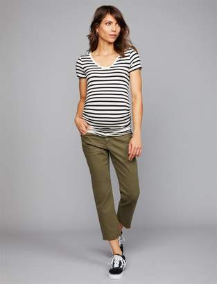 A Pea in the Pod Side Panel Straight Leg Twill Maternity Pants