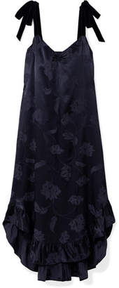 Mother of Pearl Genevieve Fil Coupé Satin Midi Dress - Navy