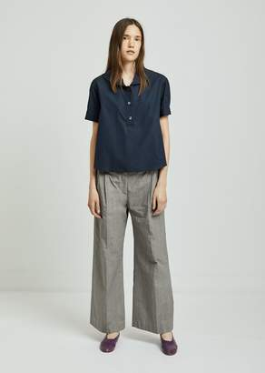 Aspesi Grey Plaid Cotton Trousers