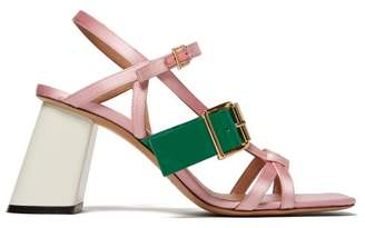 Marni Satin And Leather Block Heel Sandals - Womens - Pink Multi