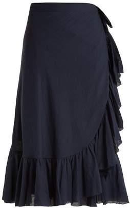 Loup Charmant - Ruffled Cotton Wrap Skirt - Womens - Navy
