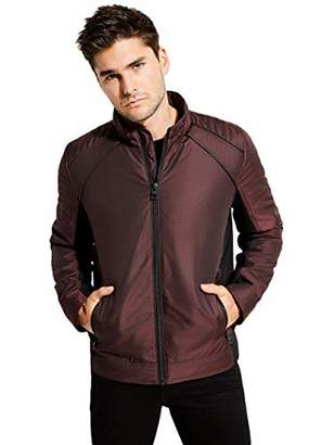 GUESS Men's Long Sleeve Liam Iridescent Moto Jacket