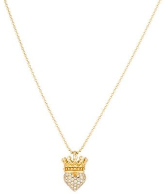 King Baby Studio Queen Baby Diamond Crowned Heart Necklace $1,095 thestylecure.com