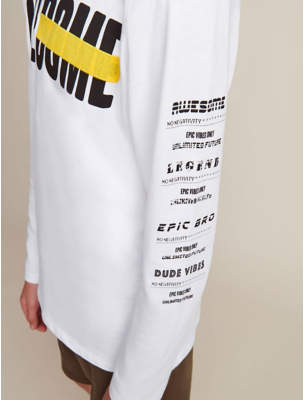 George White Awesome Long Sleeve Slogan Top