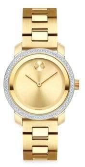 Movado Bold Iconic Metal Pave Diamond Watch