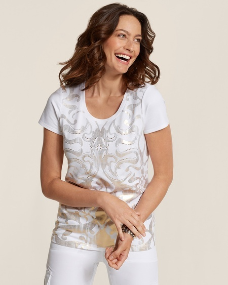 Chico's Zenergy Ivy Foil Scroll Tee