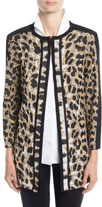 Misook Animal-Print Long Jacket, Petite