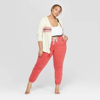 Colsie Women's Plus Size Long Sleeve Waffle Button-Up Lounge Sweatshirt - Colsie White