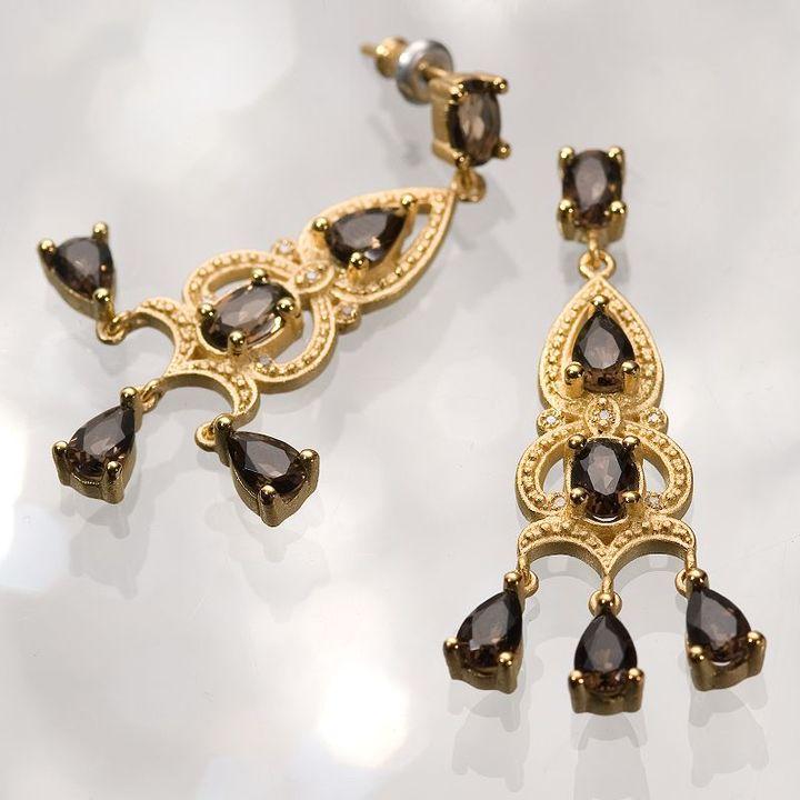 Simply vera vera wang 18k gold-over-silver smoky topaz chandelier earrings