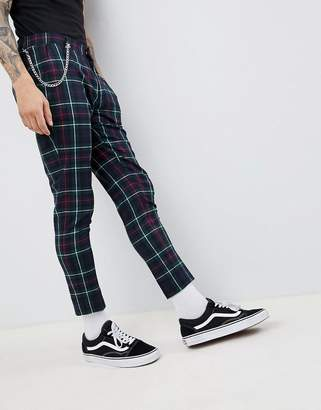 Asos Design DESIGN Super Skinny Crop Smart Pants In Tartan