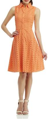 London Times Coral Eyelet Flare Dress