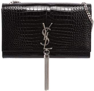 Saint Laurent Medium Kate Monogram Croc Embossed Bag