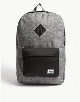 Herschel Raven Crosshatch Dark Grey and black Woven Heritage Canvas Backpack